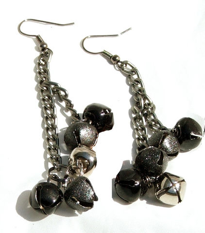 Black,Bell,Earrings,Long,Dangle,Jewelry,long_earrings,black_bell_earrings,bell_jewelry,womens_jewelry,long_dangle_earrings,Bell_earrings,jingle_bell_earrings,gunmetal_earrings,chain_earrings,black_bell_earring,black_jewelry,womens_earrings,gamersandgoths