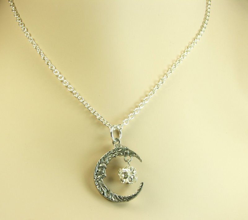 Crescent moon necklace Half moon necklace Moon Pendant with Rhinestones womens charm necklace - product images  of