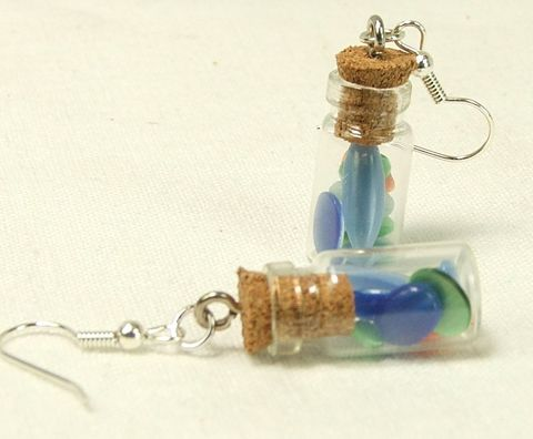 Jar,earrings,cats,eye,mix,surgical,steel,wires,womens,jewelry,dangle,jar earrings, glass jar earring, jar jewelry, bottle jewelry, glass bottle jewelry, womens earrings, blue earrings, cats eye earring, bead mix earring, womens jewelry, surgical steel wires, dangle earrings