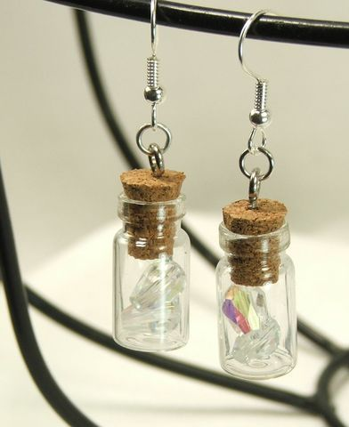 Jar,Earrings,ab,crystals,surgical,steel,earwires,womens,jewelry,dangle,earrings,jar earrings, glass jar earring, jar jewelry, bottle jewelry, glass bottle jewelry, surgical steel, womens earrings, teardrop crystal, bottle earrings, glass bottle, womens jewelry, crystal earrings
