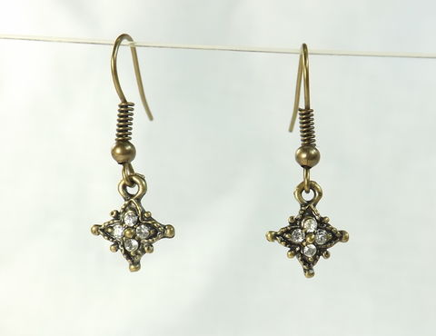 Women's,Earrings,Rhinestone,Star,Charm,Tiny,tiny dangle earring, gold color earring, Rhinestone earrings, tiny earring, antiqued earrings, dangle earring, tiny jewelry, small earrings, small dangle, rhinestone accent, tiny earrings