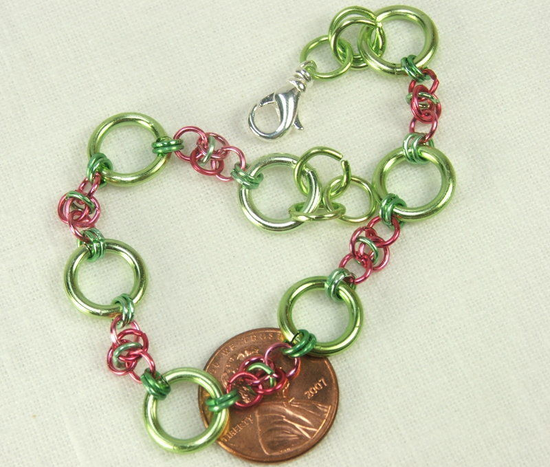 Chain maille bracelet Handmade Chain Watermelon Pink Green Spring Jewelry - product images  of