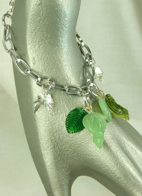 Green Leaves Bracelet Womens Jewelry Leaf Charm Bracelet - product images  of