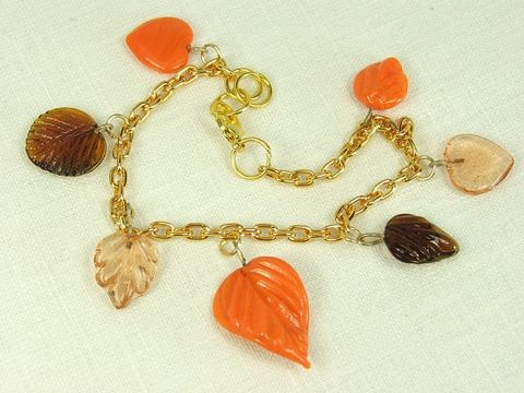 Fall,leaves,Bracelet,Womens,Autumn,Jewelry,with,orange,and,brown,glass,leaf,charms,autumn bracelet, fall leaves bracelet, autumn jewelry, leaf charm jewelry, leaves bracelet, glass charm bracelet, charm jewelry, charm bracelet, leaf jewelry, leaves jewerly, womens fall jewelry