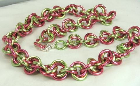 Chainmaille,Necklace,Womens,Handmade,chain,Watermelon,Pink,and,Green,Chain,Colorful,Bold,Jewelry,Chain maille necklace, green and pink necklace, women chainmaille, handmade chain, colorful jewelry, chainmaille necklace ,bold necklace