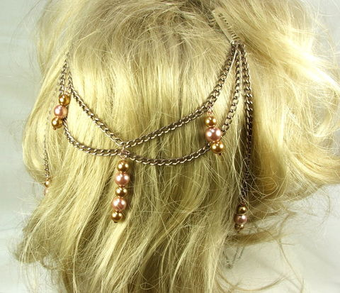 Hair,Chains,Multi,strand,Headpiece,Jewelry,Glass,Beaded,Charms,Fairy,Tale,Style,Womens,Accessory,fairy tale hair accessory, hair chains, headpiece, headdress, hair net, chain hair clip, hair jewelry, beaded chain hair, hair chains clip, chain hair piece