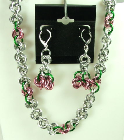 Pink,roses,chainmaille,necklace,and,earrings,Set,Womens,Jewelry,handmade,chain,chainmaille set, chain maille set, pink roses chainmaille, womens jewelry, pink rose necklace, pink rose earrings, chain earrings, chain necklace, handmade chain jewelry