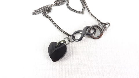 Black,heart,necklace,Front,clasp,infinity,charm,and,jewelry,gift,under,30,black,black heart necklace, infinity necklace, infinity jewelry, heart jewelry, black heart jewelry, front clasp necklace, lariat necklace, black valentine