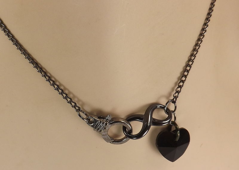Black heart necklace Front clasp infinity charm necklace heart and infinity jewelry gift under 30 black necklace - product images  of