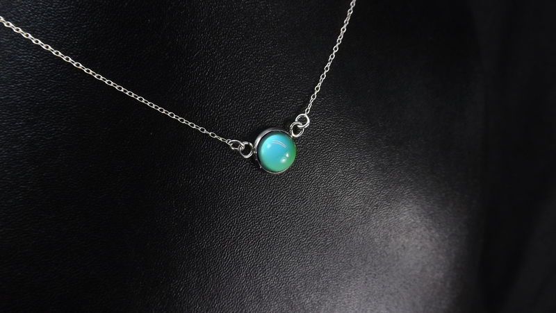 Round mood ring necklace gift for her color change jewelry sterling silver chain - product images  of