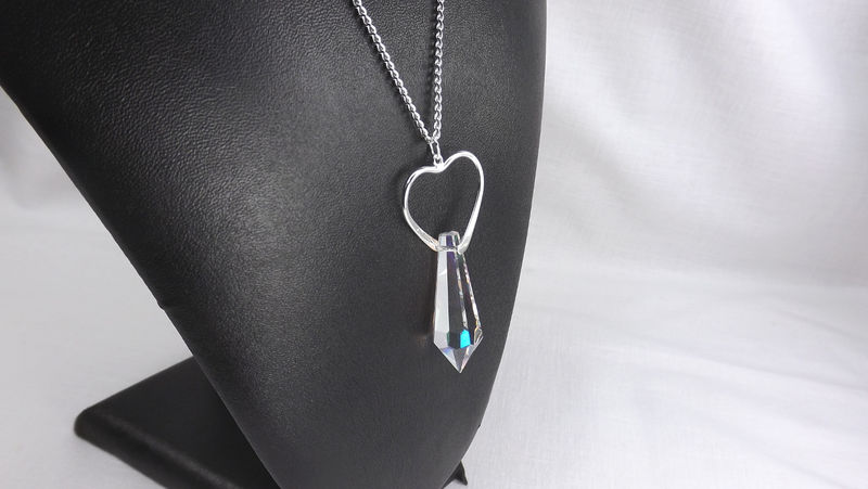 Large Open Heart Pendant with crystal on long chain Heart jewelry gift for her - product images  of
