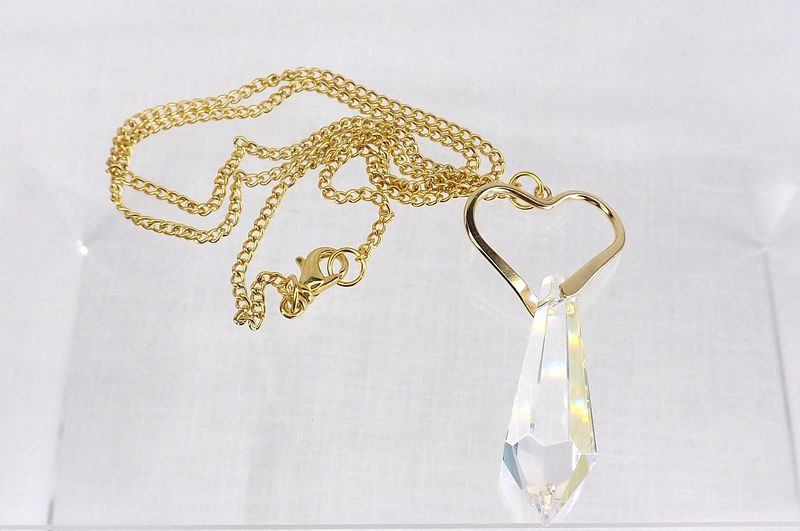 Open heart pendant with crystal and chain Large crystal necklace heart jewelry - product images  of