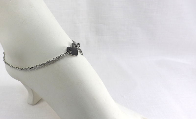 Stainless Steel anklet with heart charm summer jewelry gift for her minimalist jewelry - product images  of