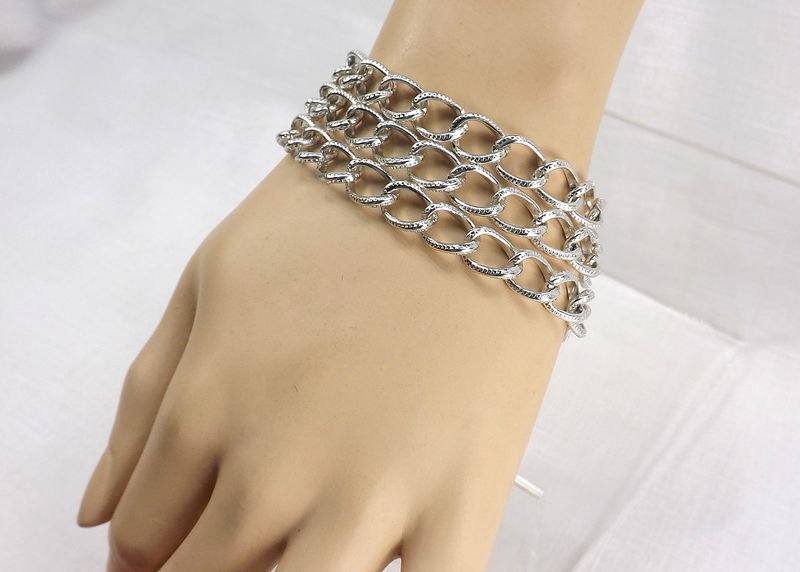 Triple chain Bracelet chunky jewelry chain jewelry gift for her summer jewelry for work - product images  of