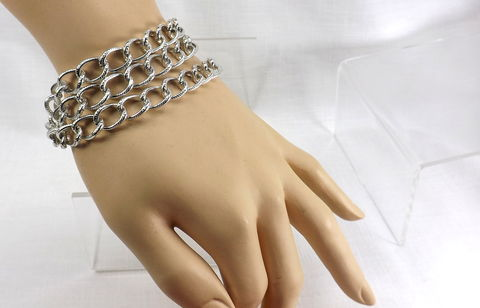 Triple,chain,Bracelet,chunky,jewelry,gift,for,her,summer,work,triple chain bracelet silver, chunky jewelry, womens bracelet, summer jewelry, jewelry for work, big bracelet, silver chain bracelet