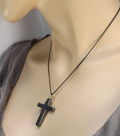 Stone,cross,on,black,chain,religious,necklace,jewelry,simple,for,every,day,wear,pendant,with,stone cross, religious necklace, cross jewelry, simple cross, cross necklace, every day cross, mens cross necklace, black cross jewelry, pendant with chain, gift for him, gift for her, minimalist cross