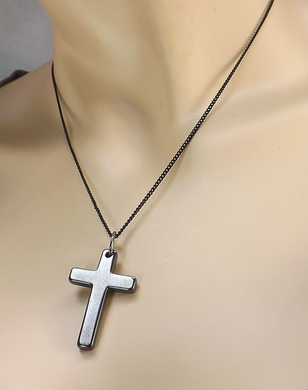 Stone cross on black chain religious necklace cross jewelry simple cross necklace for every day wear cross pendant with chain - product images  of