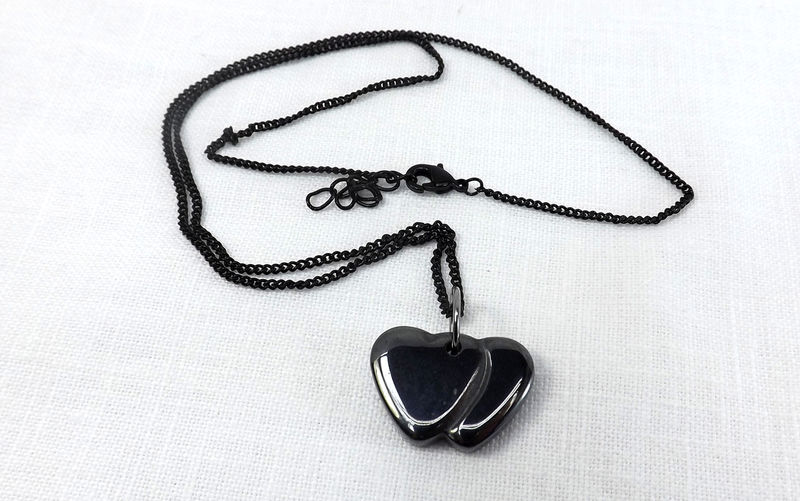Stone heart pendant with chain, black hearts pendant, heart jewelry, double heart necklace gift for her gift under 20 - product images  of
