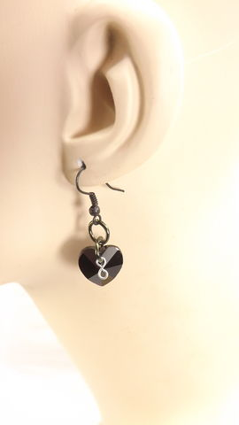 Black,heart,earrings,with,infinity,charm,gift,for,her,black,valentine,ear,wires,crystal,jewelry,black heart earrings, crystal earrings, black earrings, black jewelry, infinity jewelry, black crystal jewelry, black valentine, black ear wires