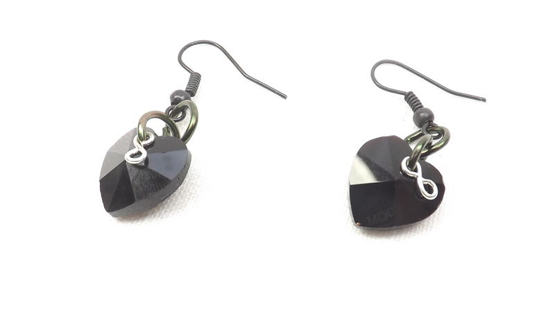 Black heart earrings with infinity charm gift for her black valentine black ear wires crystal heart jewelry - product images  of