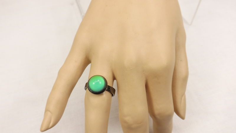 Round mood ring minimalist mood jewelry color change ring adjustable - product images  of