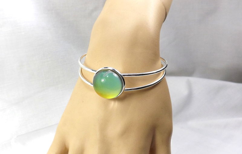Bangle Bracelet with mood stone Boho cuff mood jewelry gift for her - product images  of