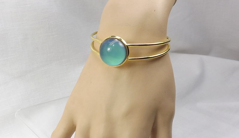 Mood jewelry gold bangle bracelet boho cuff with mood stone - product images  of