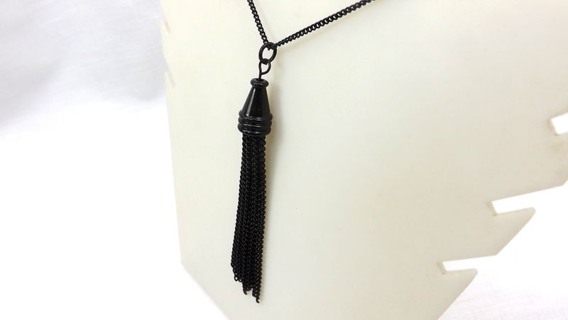 Black Tassel Necklace, All black jewelry, black chain tassel necklace - product images  of
