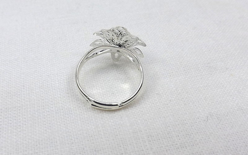 Flower ring with crystal, adjustable flower bud ring with crystal center, womens ring, flower jewelry - product images  of