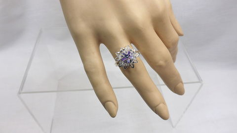 Flower,ring,with,crystal,,adjustable,flower,bud,crystal,center,,womens,ring,,jewelry,flower bloom ring, flower with crystal ring, adjustable flower ring, womens ring, flower bud with crystal center, flower jewelry, silver flower ring