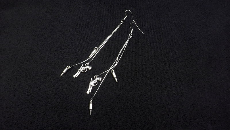 Revolver Earrings Duster earrings with bullet charms long silver chain earrings - product images  of