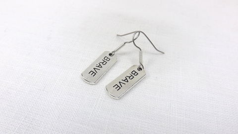 Brave,Earrings,,silver,color,minimalist,jewelry,,affirmation,earrings,,inspiration,word,jewelry,Brave Earrings, silver color minimalist jewelry, affirmation earrings, inspiration word jewelry