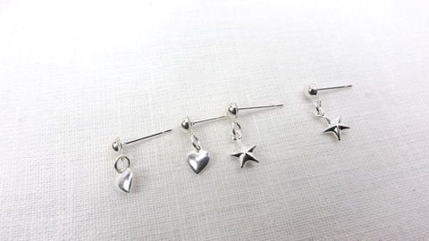 Silver,hearts,and,stars,earring,set,,minimalist,jewelry,ball,post,earrings,Silver hearts and stars earring set, minimalist jewelry set, ball post earrings
