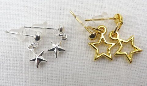 Stars,earring,set,,minimalist,jewelry,ball,post,earrings,silver,and,gold,star,Small star earrings, tiny ball stud earrings, star jewelry, tiny dangle earrings,Tiny star earrings set, star earrings, minimalist star earrings