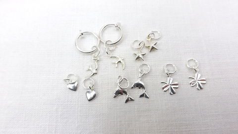 Hoop,earrings,with,changeable,charms,non,piercing,hoop,hoop earrings changeable charms, non piercing hoop earrings, silver hoop earrings, bird earrings, heart earrings, dolphin earrings, jewelry gift set
