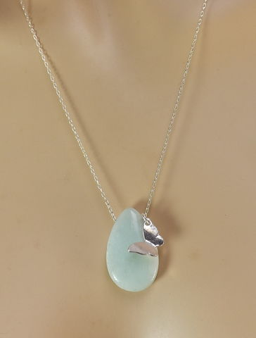 Butterfly,Gemstone,Pendant,Sterling,Silver,Chain,Amazonite,necklace,Butterfly Gemstone Pendant with Sterling Silver Chain, Tear drop Amazonite Pendant necklace