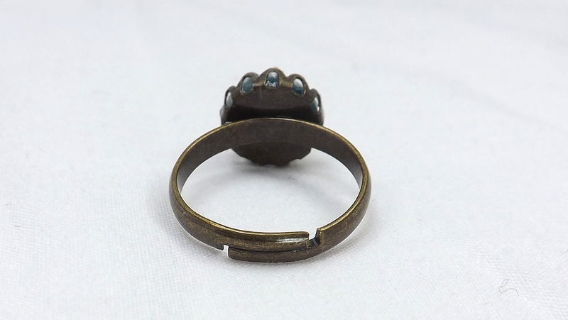 Round mood ring on bronze band retro jewelry gift for her boho bronze ring - product images  of