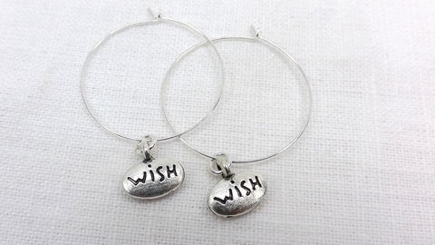 Hoop,earrings,with,wish,charm,1,inch,hoops,silver,gift,for,her,affirmation,word,jewelry,Hoop earrings with wish charm, 1 inch hoops, silver wish earrings, gift for her, affirmation hoops, word jewelry