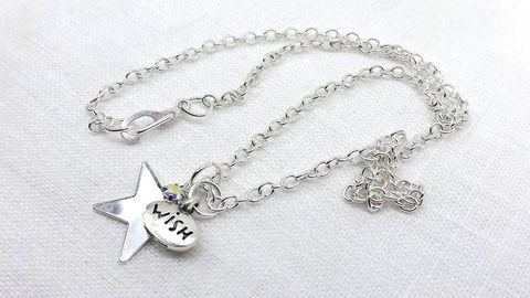 Silver,Star,Wish,Necklace,celestial,jewelry,wishing,star,charm,necklace,pendant,gift,for,her,silver star necklace, wishing star necklace, celestial jewelry, gift for her, star pendant necklace, affirmation jewelry, tiny rhinestone necklace