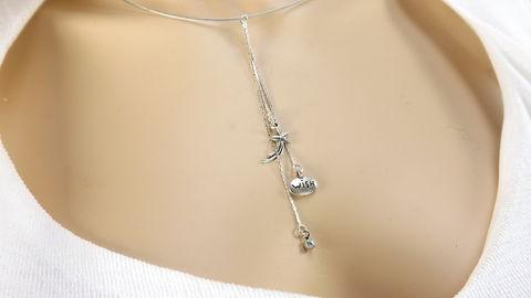 Silver,color,neckwire,with,shooting,star,pendant,charm,cluster,wish,necklace,,celestial,jewelry,,gift,for,her,Silver color neckwire with shooting star pendant,charm cluster wish necklace, celestial jewelry, gift for her, word jewelry