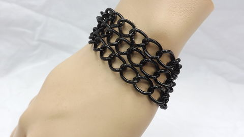 Triple,chain,Bracelet,chunky,jewelry,gift,for,her,everyday,work,triple chain bracelet black, chunky jewelry, womens bracelet, everyday jewelry, jewelry for work, big bracelet, black jewelry, black chain bracelet