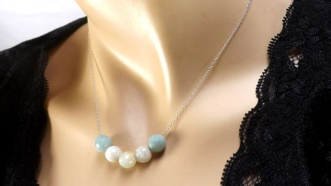 Amazonite,Beads,on,sterling,silver,chain,,Beaded,necklace,,gemstone,jewelry,,amazonite,gift,for,her,Amazonite round beads with Sterling Silver Chain,  Amazonite beaded necklace necklace, gemstone jewelry, amazonite necklace
