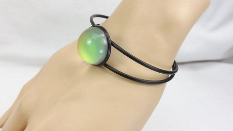 Black,Bangle,Bracelet,with,mood,stone,Boho,cuff,jewelry,gift,for,her,bangle bracelet, black bangle, bracelet with stone, mood ring cuff, boho cuff, mood jewelry, black bracelet, color change bracelet