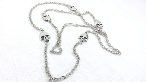 Silver,skulls,chain,extra,long,chain,,skull,necklace,,skeleton,jewelry,24,inch,layering,necklace,Silver skulls chain, extra long chain, skull necklace, skeleton jewelry, 24 inch chain, layering necklace