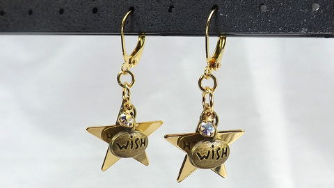 Wishing,stars,earrings,,celestial,jewelry,,rhinestone,Dangle,gold,star,under,20,gift,for,her,Wishing stars earrings, celestial jewelry, rhinestone earrings, Dangle gold star earrings, under 20 gift for her, word jewelry