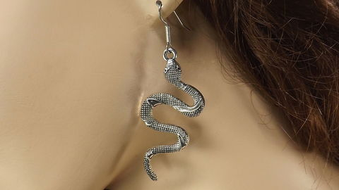 Big,silver,snake,earrings,,serpent,dangle,curved,jewelry,silver snake earrings, squiggle snake jewelry, serpent jewelry, curved snakes, long dangle snake earrings