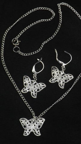 Silver,filigree,butterfly,jewelry,set.,Butterfly,earrings,and,necklace,Butterfly necklace, filigree butterfly, butterfly pendant, gift for her, charm necklace, silver butterfly, butterfly gift, butterfly jewelry, under 35, butterfly earrings, fancy butterfly, necklace and earring, animal jewelry