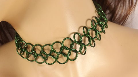 Green,chainmaille,choker,,green,rings,necklace,,chain,maille,jewelry,,gift,under,30,green choker, chain choker, handmade chain, chain maille, chainmaille, mens choker, womens choker, mens jewelry, gift for her, gift under 30, interlocking rings, chain maille jewelry, ready to ship