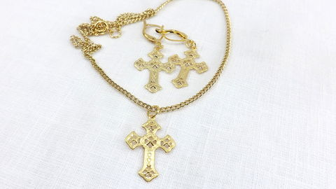 Fancy,cross,Jewelry,Set,Gold,earrings,fancy,necklace,religious,gift,under,20,Fancy cross Jewelry Set, Gold cross earrings, fancy cross necklace ,religious gift ,under 20