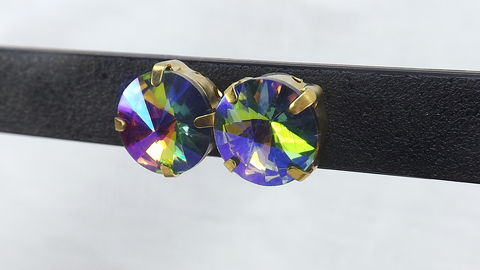 Rainbow,rhinestone,post,earrings,Large,studs,sparkle,jewelry,Crystal ab post earrings, Large rhinestone earrings, rhinestone studs, sparkle jewelry, rainbow rhinestones, gold setting earrings